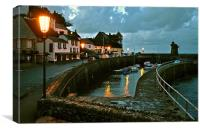 Lynmouth Harbour by Lamplight, Canvas Print
