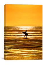 Surfer at Croyde, Canvas Print