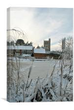 The Church and Village Pond, Wingrave., Canvas Print
