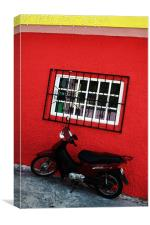 SCooter and Red Wall, Canvas Print