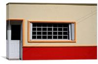 House Front with Red Stripe, Canvas Print