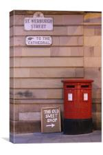 Red Post Box against a stone wall, Canvas Print
