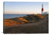 Portland Bill Lighthouse at Dusk, Canvas Print