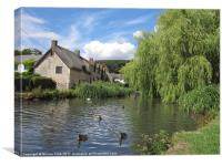 English Village Pond, Canvas Print