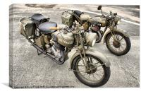 British WWII Motorcycles, Canvas Print