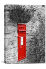 Victorian Red Post Box Selective Colour, Canvas Print