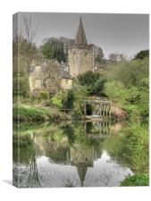 Boathouse River and Church, Canvas Print