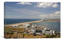 Portland Harbour and Chesil Beach, Canvas Print