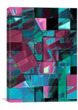 Mosaic Abstract (Claret & Blue), Canvas Print