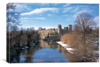 Warwick Castle in the snow, Canvas Print