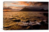 Sunset over the Black Cuillin Hills, Isle of Skye, Canvas Print
