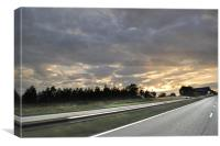 Road and the sunset, Canvas Print