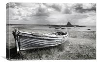 Lindisfarne Castle and Boat, Canvas Print