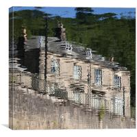 Reflection of Matlock Bath in the River Derwent, D, Canvas Print