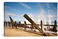 Battered Groynes, Canvas Print