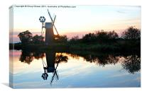 Sunset over Turf Fen Windmill, Canvas Print