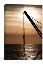 Portland Bill winch at sunrise, Canvas Print