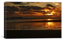 Dawn on Bamburgh beach, Canvas Print
