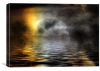 Digital, sea, night, mist, Canvas Print