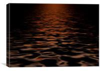 Sunset, reflection, water, digital, art, Canvas Print