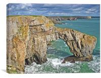 The Green Bridge of Wales.Pembrokeshire., Canvas Print