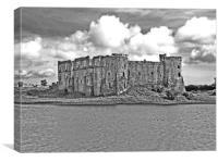 Carew Castle.Pembrokeshire.B+W., Canvas Print