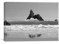 Superior Church Rock.Pembrokeshire.B+W, Canvas Print