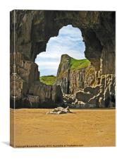Lydstep Cavern's.Pembrokeshire., Canvas Print