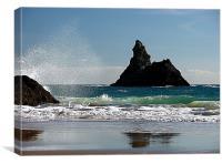 Splish Splash on Broadhaven Beach,Pembrokeshire,Wa, Canvas Print