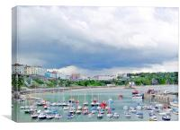 Tenby Harbour Boats., Canvas Print