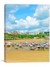 Tenby Harbour.Tide out., Canvas Print