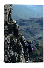 Scrambling on Crib Goch, Canvas Print