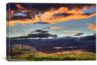 Bamburgh Castle At Sunset, Canvas Print