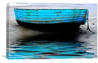 Blue Boat at Beadnell Beach, Canvas Print