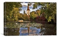 Looking across the Pond to Hever Church, Canvas Print