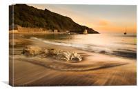 Polkerris beach at sunset, Canvas Print