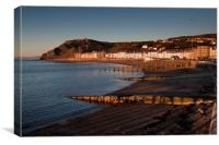 Evening at Aberystwyth north beach, Canvas Print