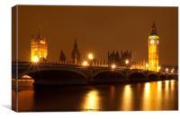 Westminster Bridge, London, night., Canvas Print