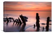 Posts at sunset, Canvas Print