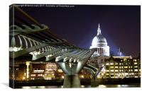 St Paul's and Millennium Bridge, London, Canvas Print