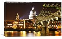 St Paul's and Millenium Bridge, London, Sunset, Canvas Print