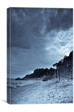 Meadfoot Beach, Torquay, Devon, b&w, Canvas Print