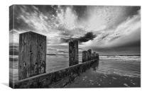 Beach sea groynes, Canvas Print