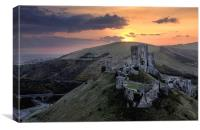 Corfe castle Dorset, Canvas Print