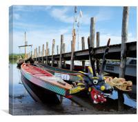 Dragon boats on Derwent water, Canvas Print