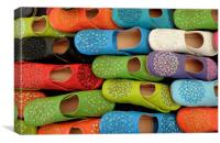 Colorful slip on shoes, Canvas Print