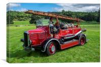 Dennis vintage fire engine, Canvas Print