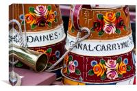 Two traditional narrowboat kettles, Canvas Print
