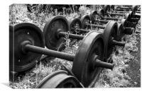 Train bogie wheels, Canvas Print