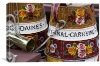 Painted canal narrow boat water containers., Canvas Print